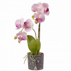 Pequeña orquidea artificial fucsia con maceta 040