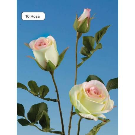 Branca flors 3 roses artificials