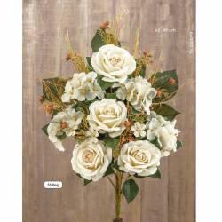 Ramo artificial cementerio rosas y hortensias beig