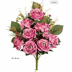 Ramo flores artificiales cementerio rosas y hortensias malva