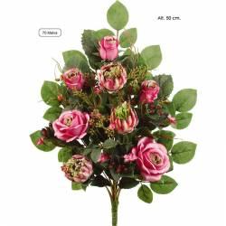 Ramo flores artificiales cementerio rosas y proteas malva