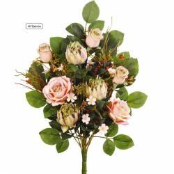 Ramo flores artificiales cementerio rosas y proteas salmon