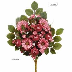 Ramo flores artificiales cementerio ranunculos y gerberas malva
