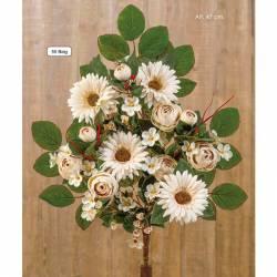 Ramo flores artificiales cementerio ranunculos y gerberas beig