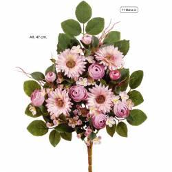 Ramo flores artificiales cementerio ranunculos y gerberas malva claro