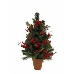 Pino artificial pequeño de Navidad con acebo 066