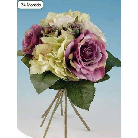 Bouquet flores artificiales rosas