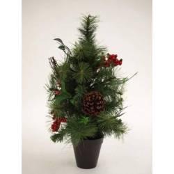 Arbol artificial pequeño de Navidad con acebo 045