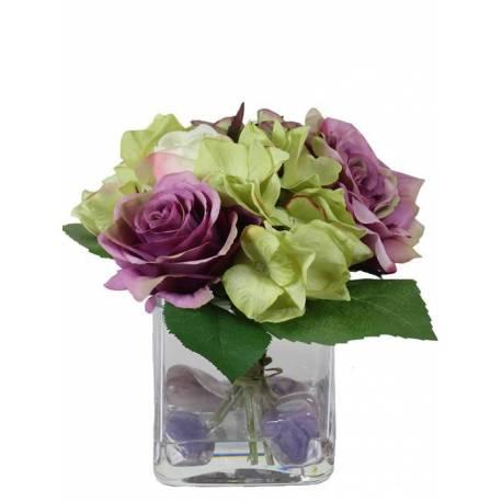 Hortensies artificials en centre cristall amb aigua simulada