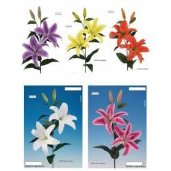 Lilium artificial dos flores y dos capullos