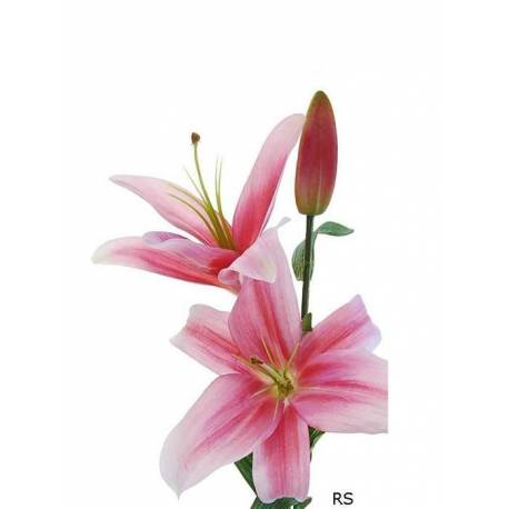 Flor artificial lilium dos flores y un capullo