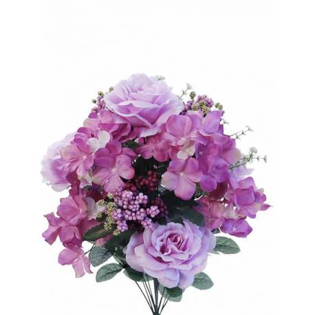 Ramo redondo flores artificiales rosas hortensias