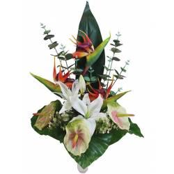 Ram flors artificials cementeri strelitzia i anthurium