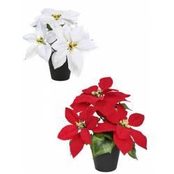 Flor de pascua artificial en maceta pequeña