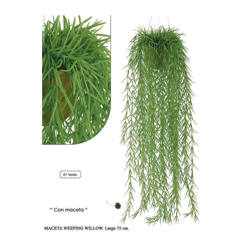 Planta colgante sauce lloron artificial con maceta oasis decor - Plantas artificiales exterior ...