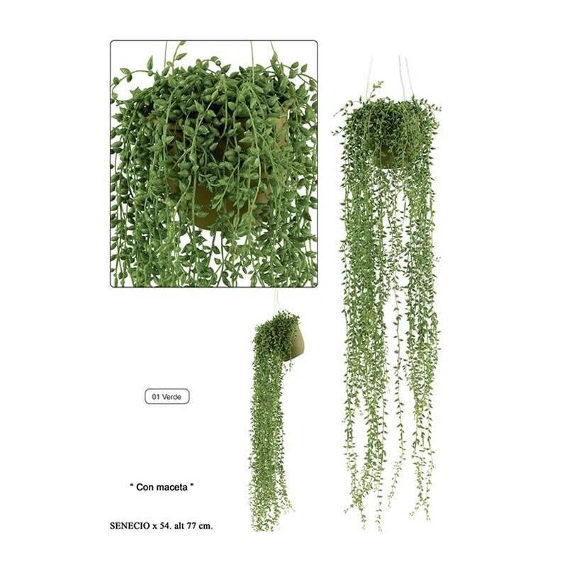 planta colgante artificial senecio con maceta - Plantas Colgantes