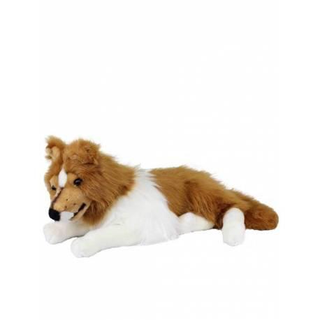 Peluche perro collie tumbado