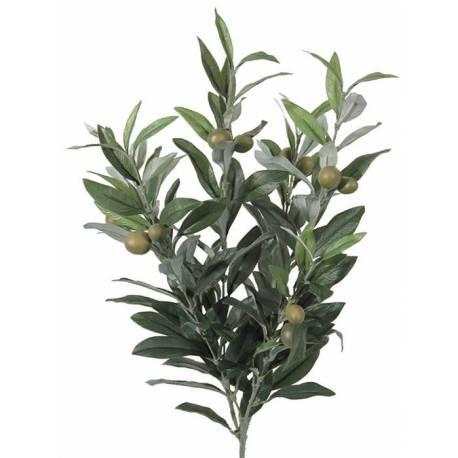 Pequeña mata olivo artificial con aceitunas verdes
