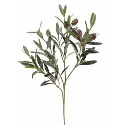 Pequeña rama olivo artificial con aceitunas negras